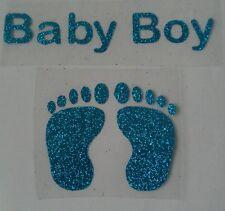 L'hotfix iron-on trasferimenti Blu Glitter Bambino / Baby Feet