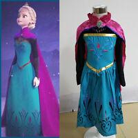 Kids Girls Frozen Princess Anna Costume Cosplay Party Dress Gown Fancy Dresses