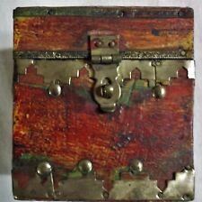 """NWT Rust Treasure Chest Trinket Box, Wood & Brass, 3.38""""T"""