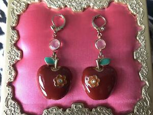 Betsey Johnson Vintage Bohemian Betsey Red Enameled Daisy Crystal Apple Earrings