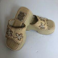 Skechers Wedge  Heel Platform Slide Summer Sandal straw Women Sz 5