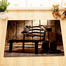 Western Cowboy Gun On Chair Non-Slip Bathroom Mat Home Decor Door Rug Carpet