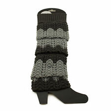 Knee High Footless Socks Gray Knitted Leg Warmers Cozy Warm Winter Wear