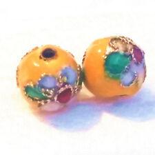 2x Cloisonne Perlen aufwendig handgearbeitet 10 mm Beads Schmuck  Anhänger