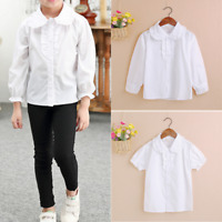 Kids Short/Long Sleeve Frilled Peter Pan Collar Shirt Big Girls Uniforms Blouse