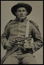 "Civil War Soldier, Confederate, 1861 Photo, 5""x7"", Revolver gun Bowie knife"
