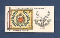 1st Battalion SEAFORTH HIGHLANDERS Regimental Colour & Cap Badge 1930 card
