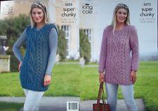 King Cole Super Chunky  Knitting Pattern 3573:Sweaterdress & Slipover