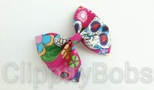 "LADIES HANDMADE 4"" PINK SKULL HEAD PATTERN SOFT FABRIC BOW HAIR CLIP HEADBAND"