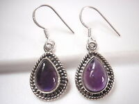 Amethyst Teardrop 925 Sterling Silver Dangle Earrings with Rope Style Accents