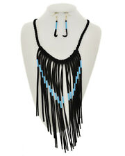 Sky Blue Beaded Black Fringe Necklace Set