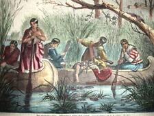INDIANI. AMERICAN INDIANS xilografia  metà XIX SECOLO RISO raccolta