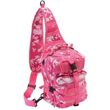 Pink Outdoor Camo Sling Backpack, Womens Camp Tactical Hike Run Shoulder Pack
