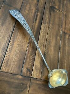 """MASSIVE FRANK SMITH SOLID STERLING W/APPLIED GRAPE DESIGN PUNCH LADLE 17"""" 263G"""