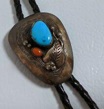 Vtg Navajo Silversmith Roy Vandever Sterling Bolo Tie Turquoise Coral Slide Tips