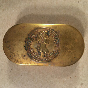 c.1920 MARY GARDEN RIGAUD PARIS PARFUMEUR Antique Embossed Brass Double Compact