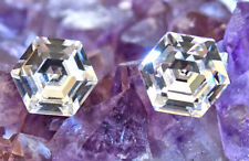 Clear Crystal Stud Earrings 10mm Hexagon Vintage Swarovski Crystal Rhinestones