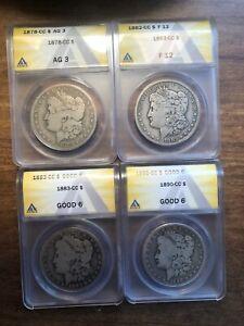 Lot of (4) Carson City Morgan Silver Dollars 1878, 82, 83, 90 CC! Anacs Graded**
