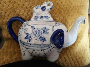 Elephant Teapot Decorative Blue & White With Lid Handmade Chinese Porcelain