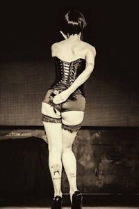 "Pin Up Burlesque Girl Black Corset Come Get Your Rose 4""x6"" Reprint Photo BU6"