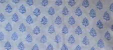 Hand Block Print Pure 100% Cotton Fabric Sanganeri Running 3 Yard Indian Blue