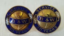 Set of 3 10k Gold B&W Babcock Wilcox Pins 20 + 30 Year Service