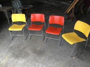 DAVID ROWLAND  GF 40/4 Vintage Modern Stacking Chair 1979 Orange Red Steel