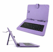Premium German QWERTZ Keyboard Folio Case in Purple for Nokia Lumia 2520