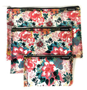 3 Piece Pink Floral Kensie Travel Makeup Zipup Beauty Pouch Cosmetic Bag Set
