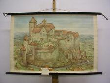 Tableau Mural le Nouveau Schulmann 4056 Médiévale Château 92x60 1954 Vintage