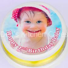 """Su propio Personalizado Foto + mensaje Cake Topper Comestible Glaseado 7.5 """" / 19cm Ronda"""