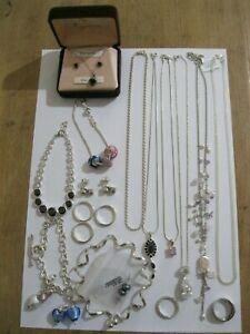 Job lot of 20 silver 925 jewellery Rings, Necklace, Earrings, Pendants, Bracelet