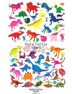 Dino Temporary Tattoo Sheets stickers Children Kids Birthday Party Bag