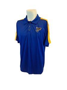 St. Louis Blues NHL Polo Shirt L Men Royal Blue Poly Sewn Logo LNWOT YGI I1-323