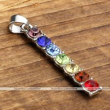 Real Natural 7 Gemstone Beads Reiki Chakra Healing Point Pendant For Necklace #4