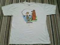 vtg 80s 90s shoebox greetings t-shirt 2XL fishing bear wrong