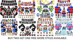 Children's Themed Birthday Decorations Banners Balloons Cake - Cupcake Toppers