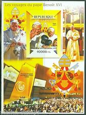 GUINEA 2015 TRIPS OF POPE BENEDICT XVI BRAZIL IMPERF SOUVEVNIR SHEET  MINT NH