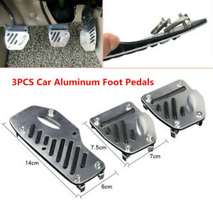 3Pcs Autos Non-skid Aluminum Accelerator Pedal Pad Cover throttle Brake Clutch