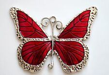 1 Extra Large Tibetan Silver Red Enamel Butterfly Charm Pendant Link (TSC117)
