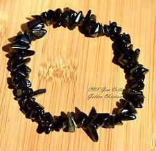 Gemstone Crystal ChipStone Golden Black Obsidian Strechy Bracelet Scorpio