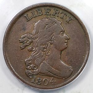 1804 C-1 R-3 ANACS VF 35 Crosslet 4 w/ Stems Draped Bust Half Cent Coin 1/2c