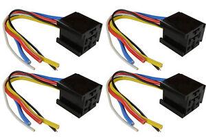 4 LOT TEMCo 12 V 60 70 80 Amp Bosch Style S Relay Harness Socket Automotive