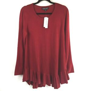Context Lord and Taylor Women's L Pullover Red Sweater Asymmetric Ruffle NWT