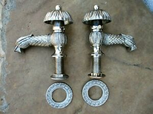 "Vintage Brass Chrome Duck Shape Pair Tap Faucet 1/2"" Wash Basin Sink Hot & Cold"