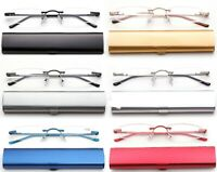Slim Rimless Readers in Slim Curved Aluminium Case Reading Glasses Tube Reader