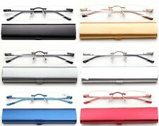 Slim Rimless Readers in Slim Curved Aluminum Case Reading Glasses Tube Reader