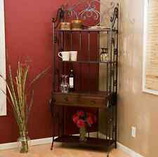 Wrought Iron Bakers Rack Distressed Wood Shelves Storage Drawers Rustic Kitchen