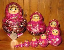 russe dipinte a mano nidificazione bambole 10 ROSA LILLA NERO Matrioska Chamova
