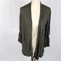 New Alfani womens open cape cardigan sweater size medium green 3/4 bell sleeves